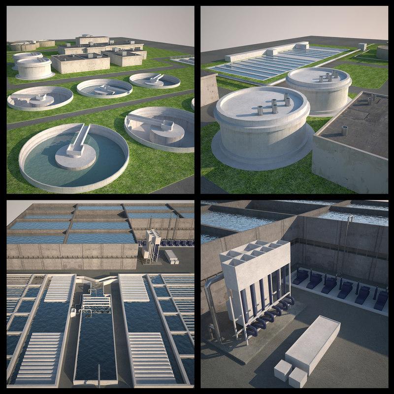 3d clean water treatment plant model
