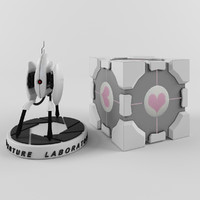 3d portal turret companion cube model