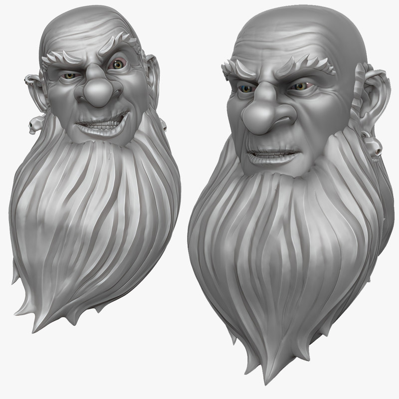 3d head bearded man 1