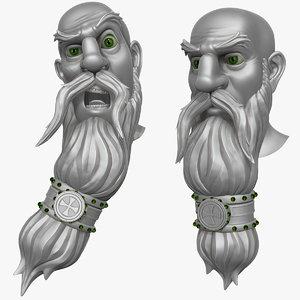 obj bearded man head