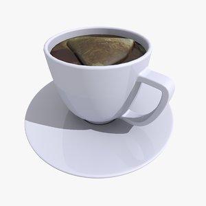 3d model tea cup black