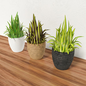 3d model pot eco grass