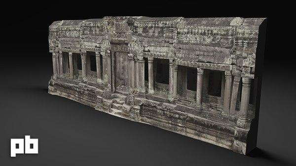entrance temple ruins 3d obj