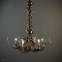 adirondack antler 6-arm chandelier max