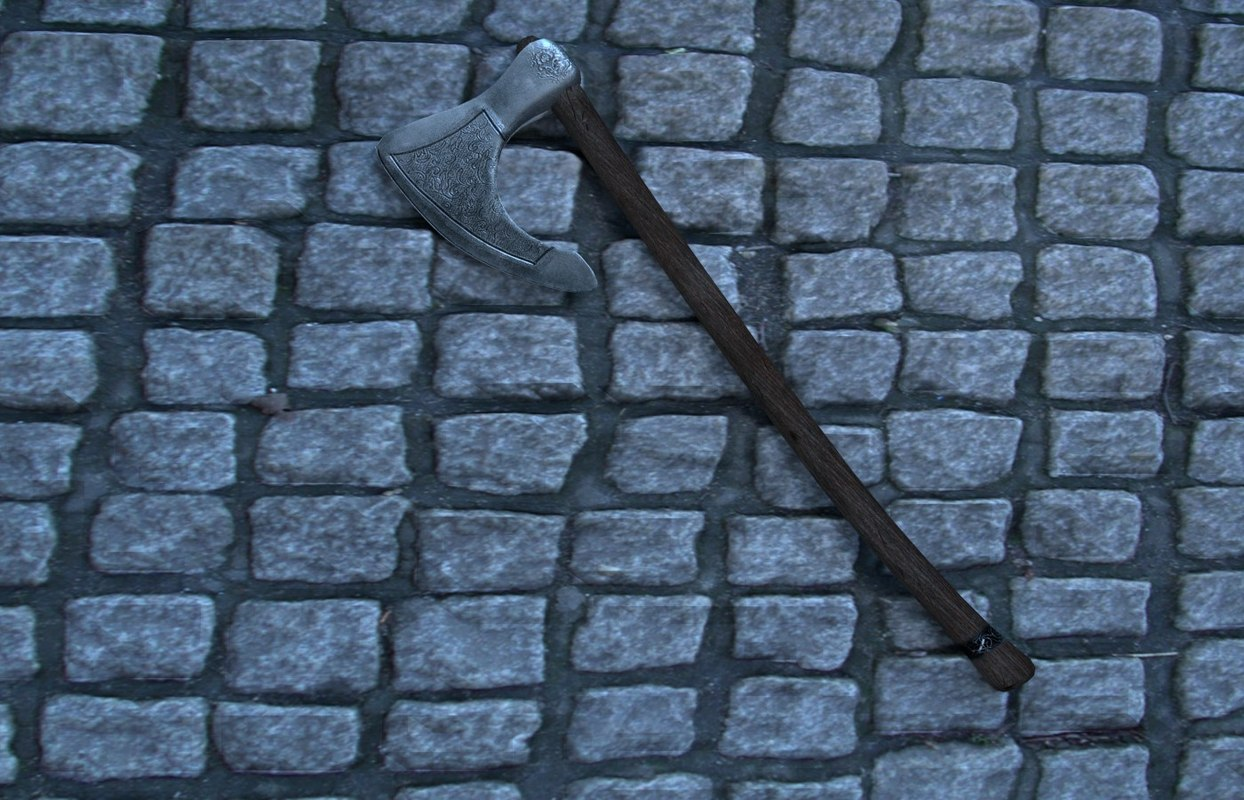 3d model medieval steel battle axe