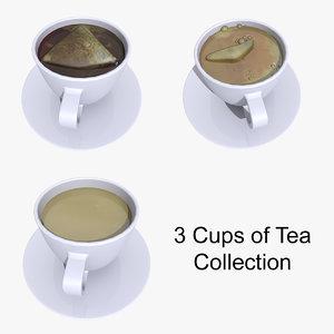 3d tea cups