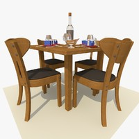 oak square restaurant dining table 3d model