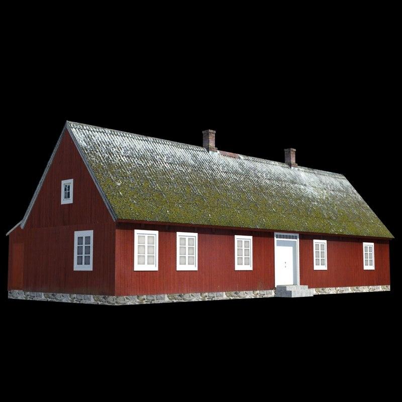 3d cottage red