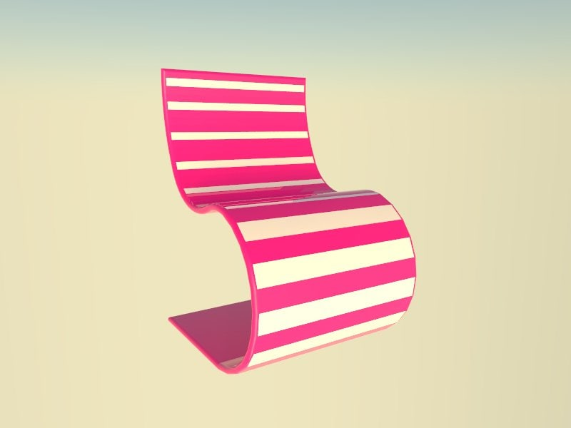 chair pink white 3ds