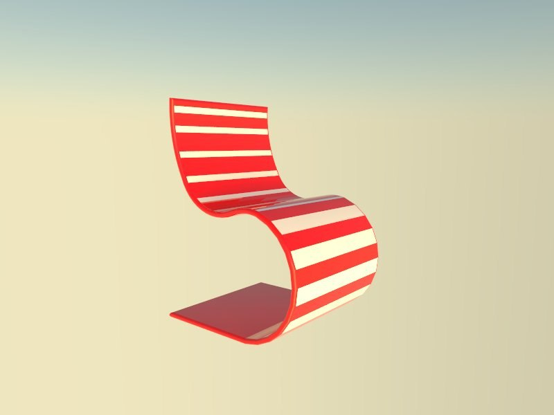 3d model red white chair