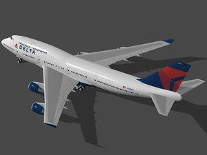 boeing 747-400 delta air lines 3d model