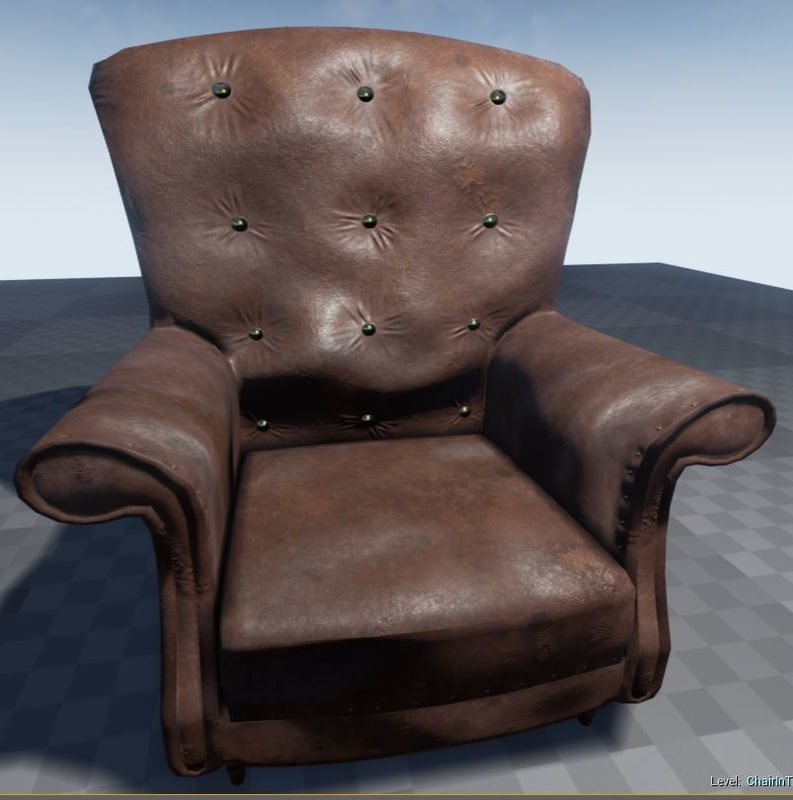 leather armchair 3d fbx