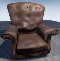 Worn Leather Armchair