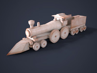 3d model of wooden train toy