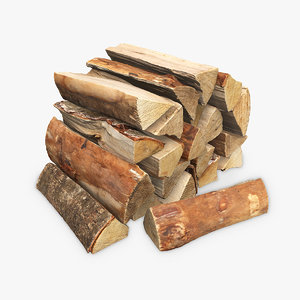 3d wooden logs scan