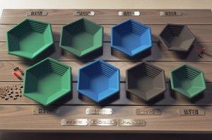 3d hex gold pans model
