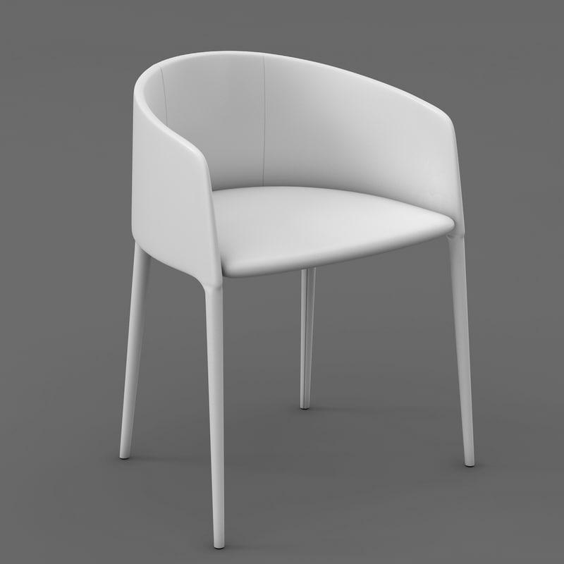 3d model white dinning chair