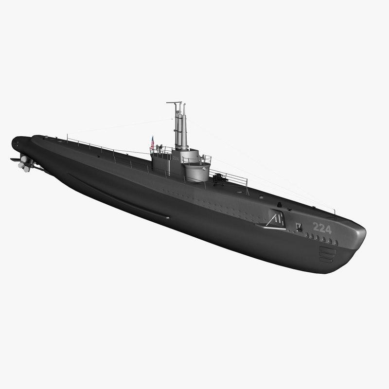 u-boat uss spadefish 3d max