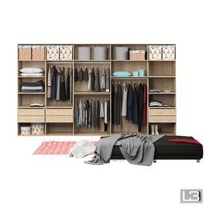woman clothes wardrobe 3d model