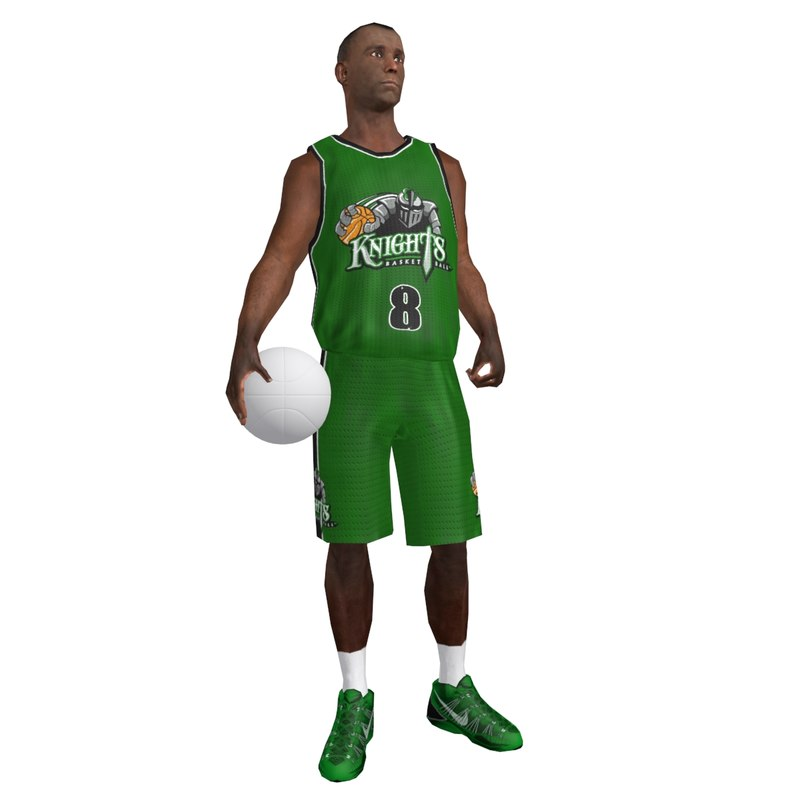 3d rigged basketball player ball model
