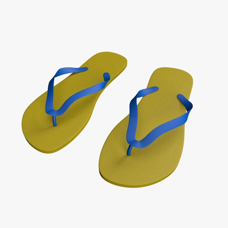 beach flip flops c4d