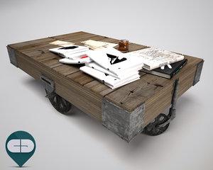 c4d coffee table wheels