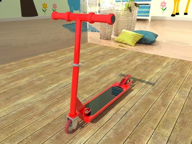 red scooter 3d model
