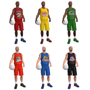 3d rigged basketball player ball
