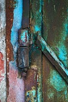 old patterned hinge with rust decay