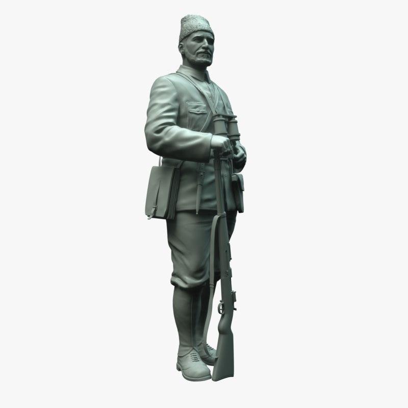 3d model statue turkish partisan hero
