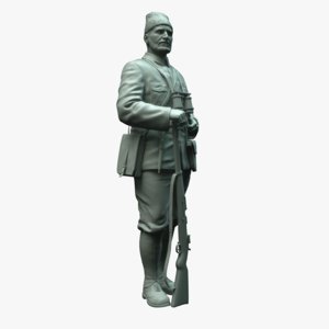 3d model statue turkish partisan hero