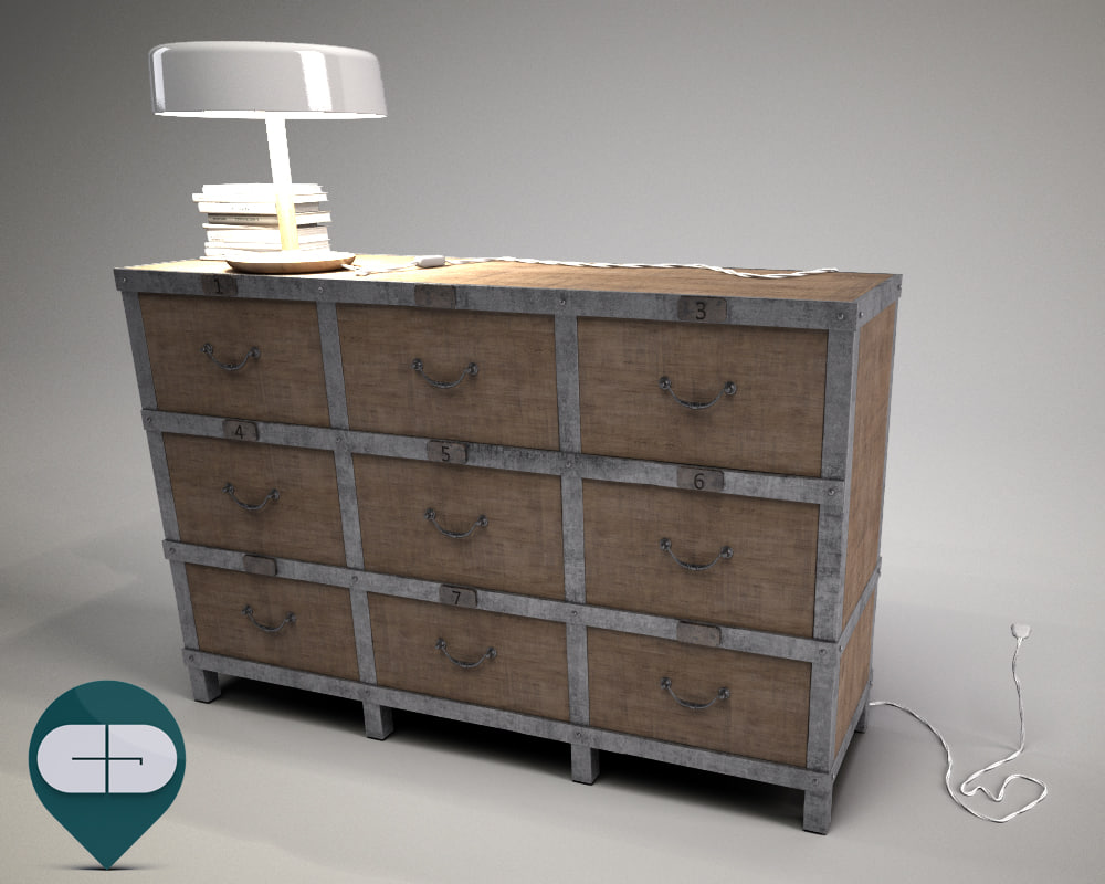 c4d industrial chest drawers