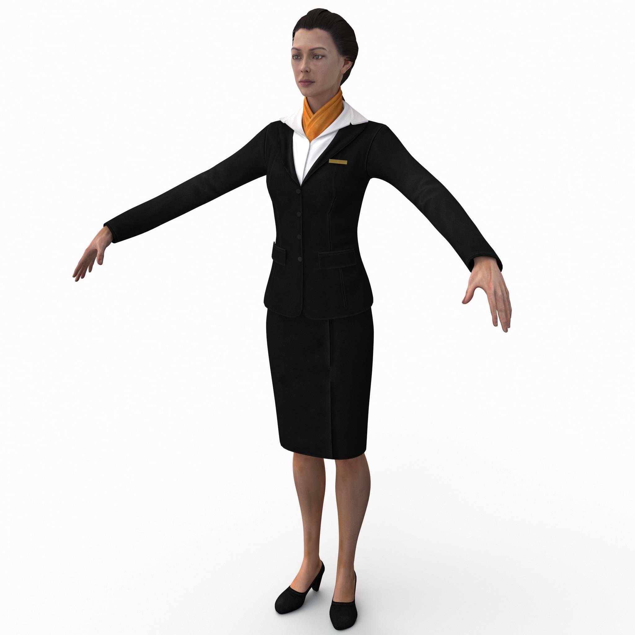 female flight attendant rigged 3d model