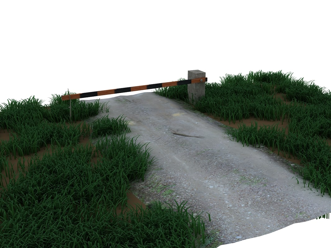 scene country road barrier 3d max