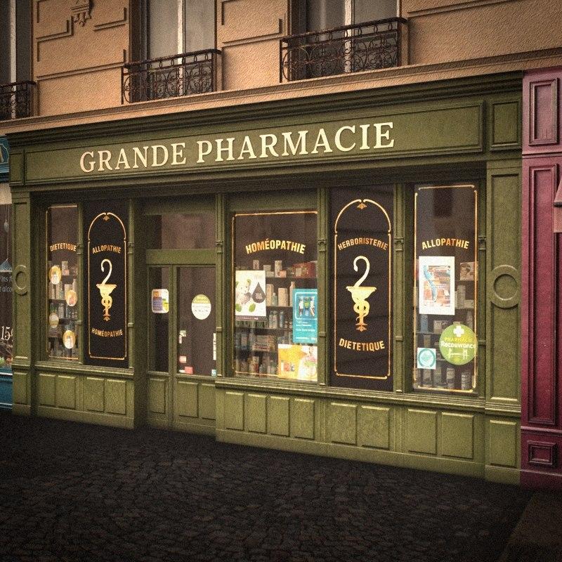 typical paris shop pharmacy lwo