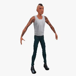 3d stylized cartoon punk
