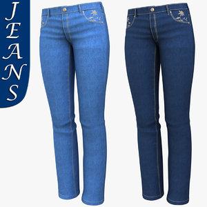 3d realistic woman jeans