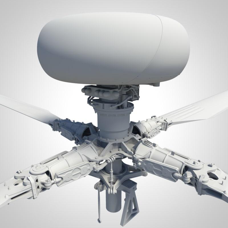 3dsmax main rotor head ah-64 apache