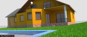 free new modern house 3d model