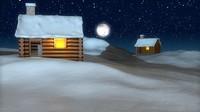 c4d snowy cabin