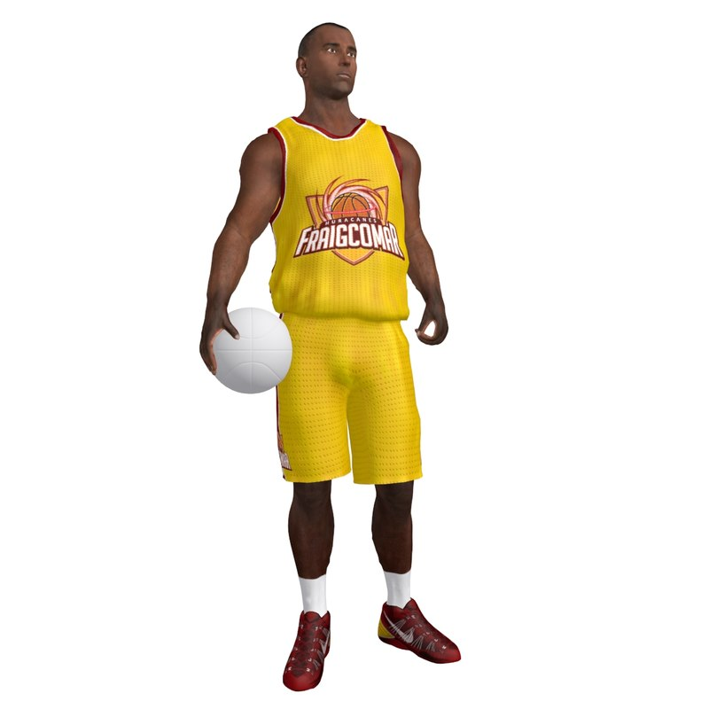 3d model of rigged basketball player ball
