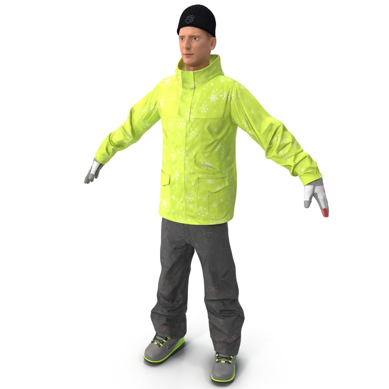 3ds max man winter clothes rigged