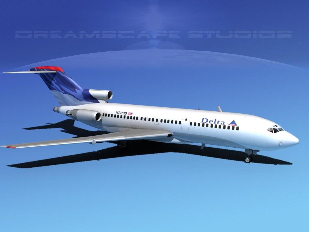 airline boeing 727 727-100 3d model