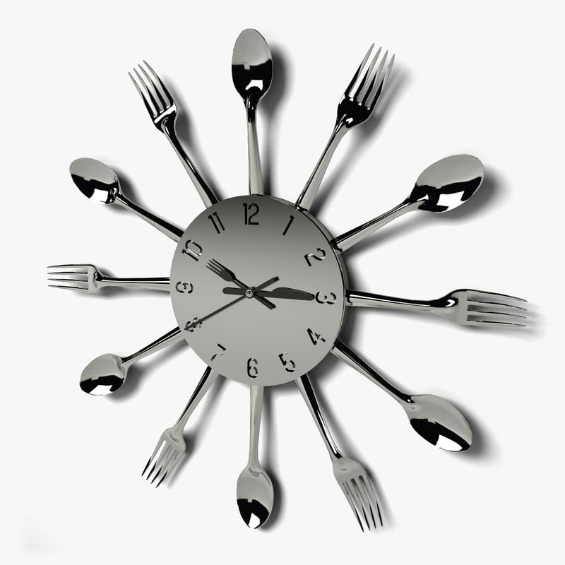 cutlery wall clock 3d 3ds