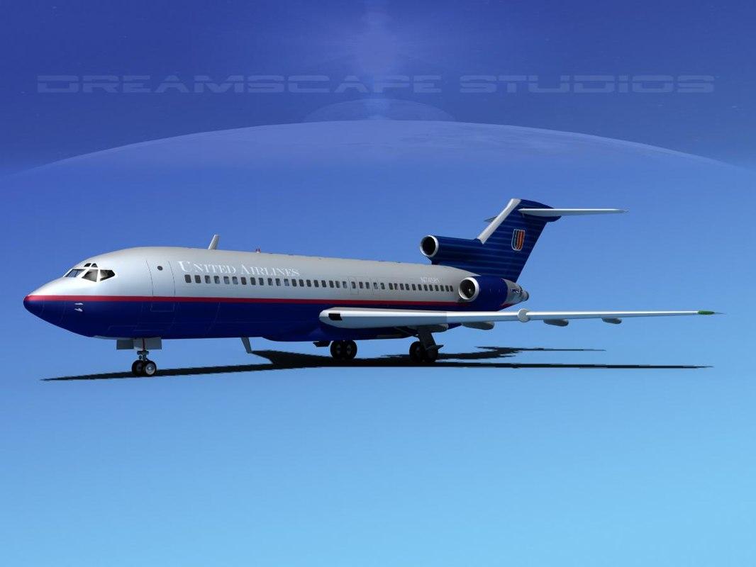 3d model airline boeing 727 727-100