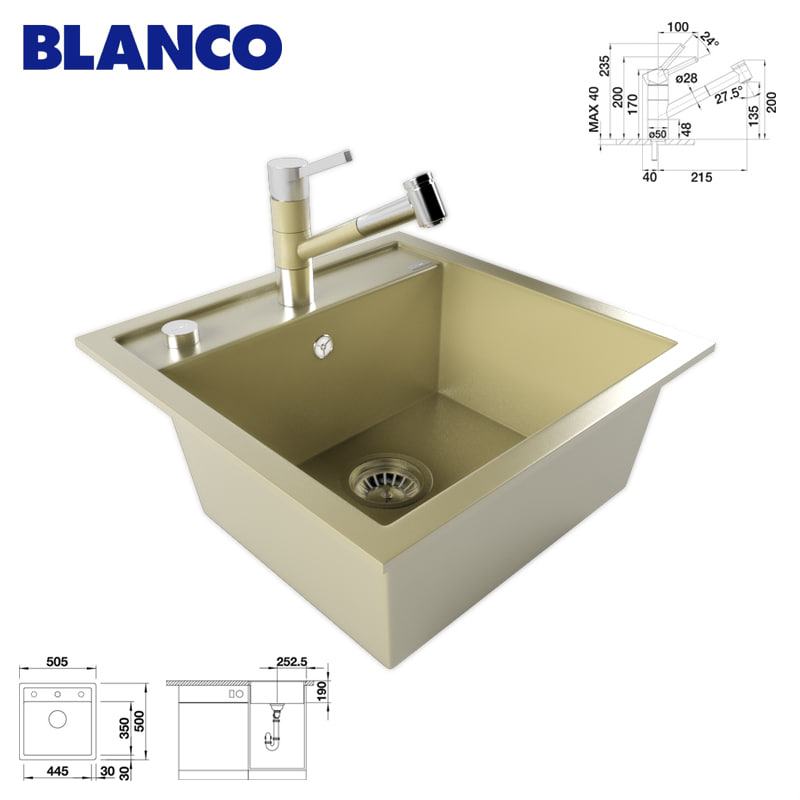3d model kitchen sink blanco