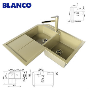3d kitchen sink blanco