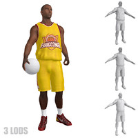 rigged basketball player lod 3d model