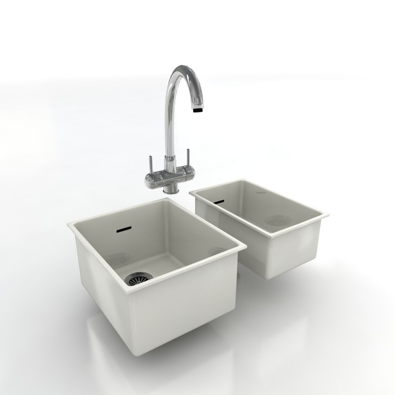 kitchen taps sinks 3d model