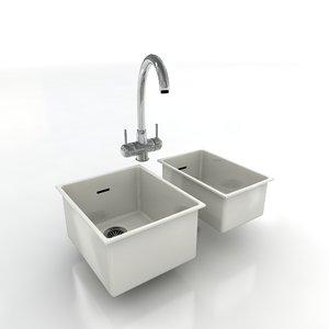 kitchen taps sinks 3d model